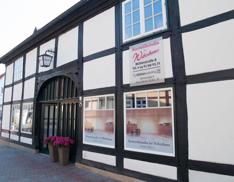 Eingang Kosmetikstudio im Weberhaus Bramsche